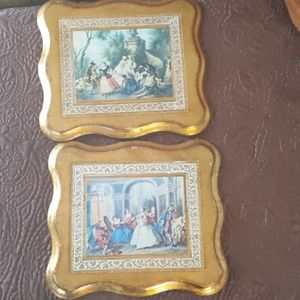 Vintage french wall hangings with gold leaf